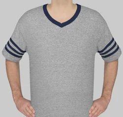 Cotton Men Basic V Neck T Shirt With Sleeve