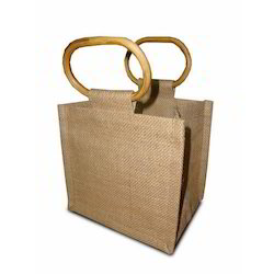 Customized Cane Handle Jute Bag