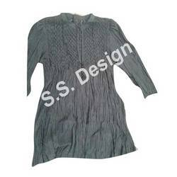 Cotton Casual Wear Ladies Smocked Long Top, Size: M-XL