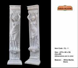 White Marble Stone Columns