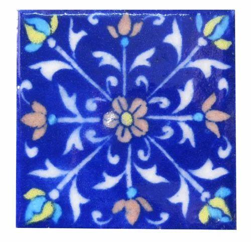 Handmade Blue Pottery Tile