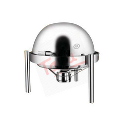 Round Roll Top Chafing Dish With Pipe Leg