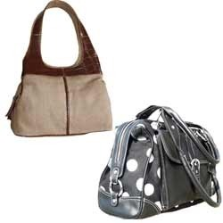 aadf45ed3706 Canvas   Leather Combination Bag - Large Size Canvas   Leather Combination  Ladies Bag Exporter from Kolkata