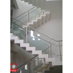 Glass Indoor Stair SS Glass Railing