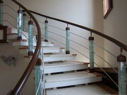 Glass Post With Wooden Hand Railing