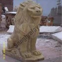 Brown Stone Seated Lion Statue