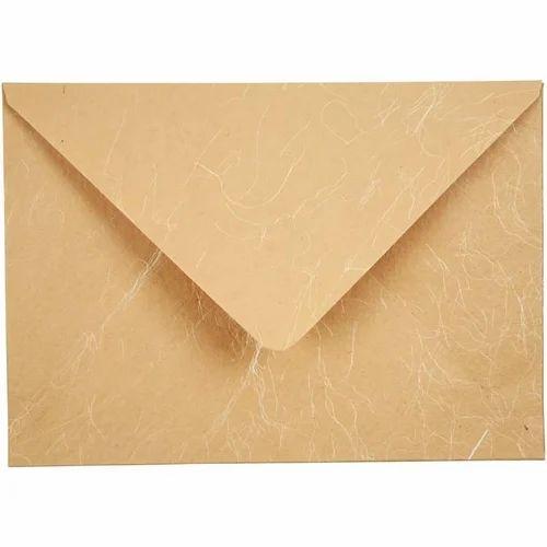 Natural Handmade Paper Handmade Silk Paper Envelopes, Size: 6*8