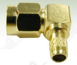 SMA Male Right Angle Crimp Connector For LMR 200 Cable