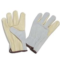 Beige Leather Driving Gloves