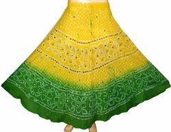 JaipurOnlineShop Skirt Indian Cotton Bandhini Skirts, Size: Regular