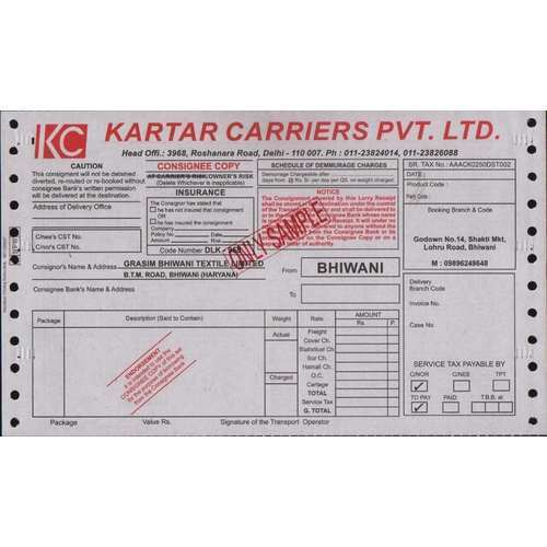Transport Bilti Slip Printing, | Sethi Business Systems in