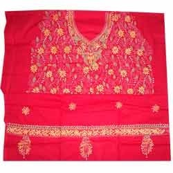 Kantha Stitch Red Salwar Suits