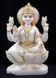LA-1022 Lakshmi Statue In White Marble