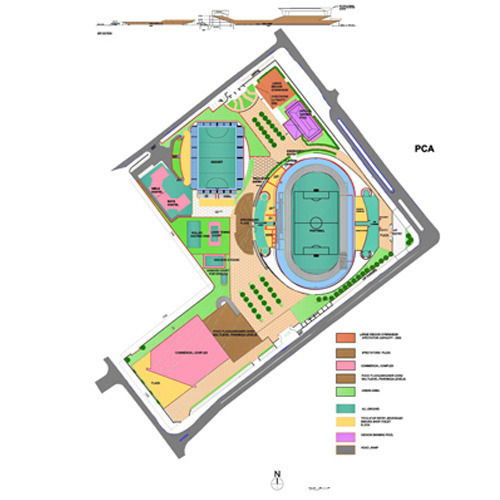 Master plan for the mohali sports complex in madangir new delhi a r criti id 3066639848 for Sports complex planning design