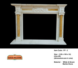 White and Brown Marble Stone Fireplace Mantel Surround