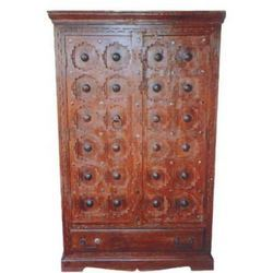 1 Drawer Iron Worked Carved Old Door Style CupBoard