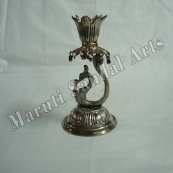White Metal Peacock Candle Stand