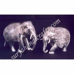White Metal Elephant Trunk Down