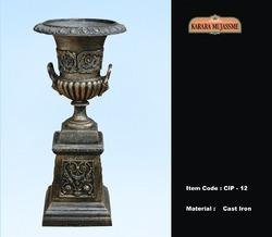 Vintage Cast Iron Pedestals & Planter