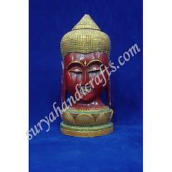 Wooden Painting Buddha Head