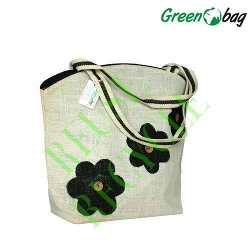 White Green Bag Jute Printed Bags