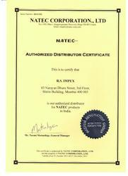 Authorised Distributor Certificate For RS Impex