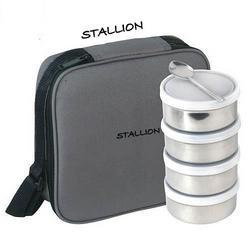 Stallion Stainless Steel 4 in 1 Square Insulated Tiffin, Size: 800ML