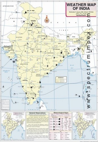 India Weather Map January Weather Map Of India at Rs 180 /piece | Physical State  India Weather Map