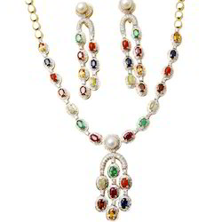 Navratan Necklace Set With Earrings