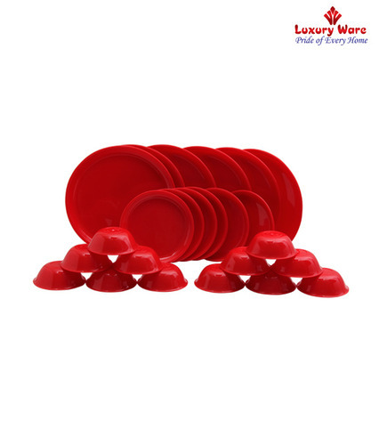 Royal Touch Multicolor Plastic Red Dinner Set