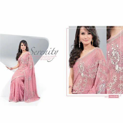 Fancy Lights Shops In Hyderabad: Light Pink Designer Saree, लाइट गुलाबी डिज़ाइनर साड़ी