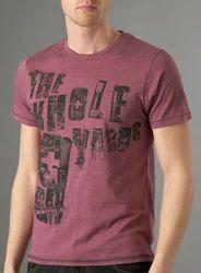 Half Sleeve Cotton/Linen Mens Printed T-Shirts