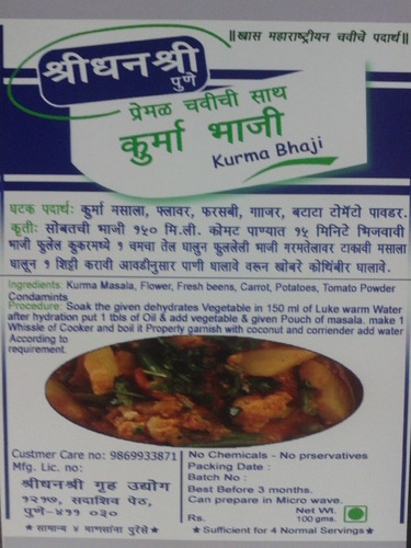 Ready To Eat Foods - Kurma Bhaji Manufacturer from Pune