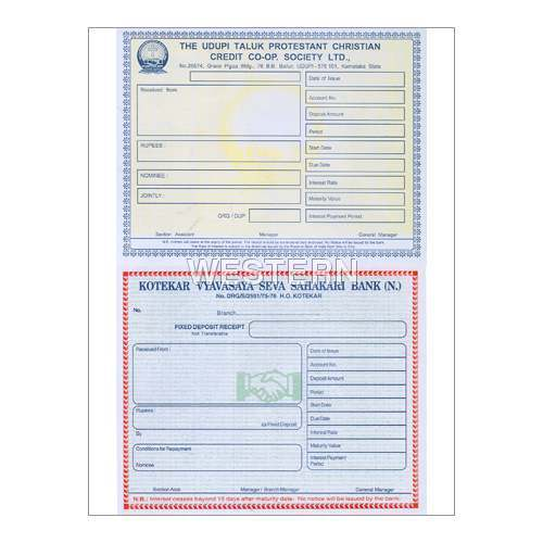 Bank Deposit Receipt Stationery - Western Data Forms, Mangalore | ID