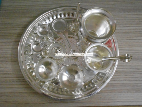 German Silver Pooja Set & German Silver Pooja Set at Rs 1500 /piece(s)   Puja Thali ???? ...