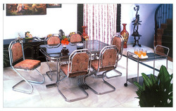 Decorative White 6 Seater Dinning Set, For Home