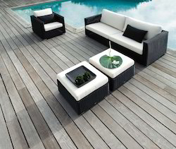 Wicker Black and White Sofa Set, Width: 78 inch