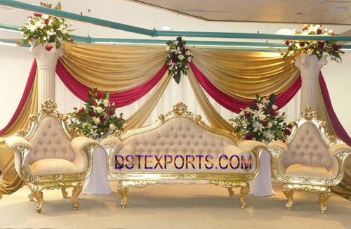 Indian Wedding Furniture Golden Wooden Carved Sofa Exporter From Patiala