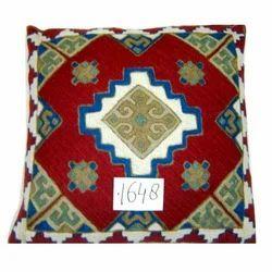 Woolen Chain Stitch Cotton Cushion Cover