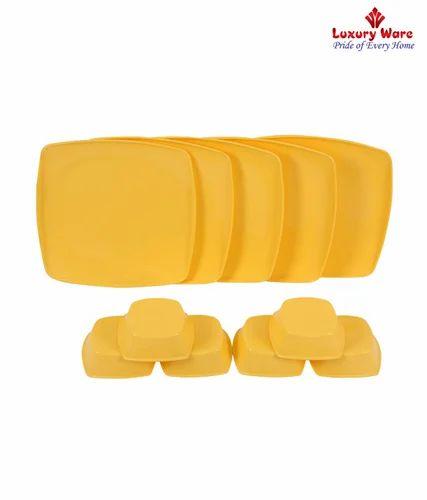 Royal Touch Multicolor 6 Pcs Full Square Plates / Veg Bowls