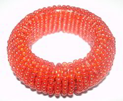Brick Red Beaded Napkin Ring