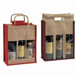 Jute Three Bottle Bags