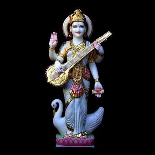 Standing Saraswati Statue With Dove