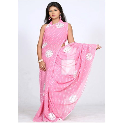 0b0594fa10060 Faux Georgette Sarees - Baby Pink Saree With Resham Work Wholesaler ...