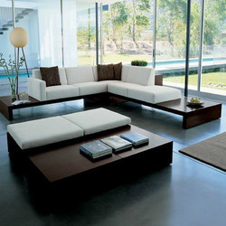 Living Room Furniture - L Shape Couch with Wooden Base ...