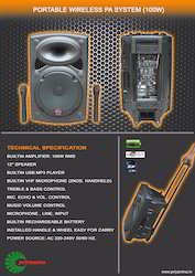 Portable Wireless PA System (100 Watts)