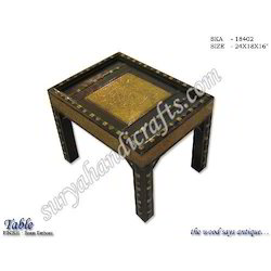 Wooden Table Brass Emboss Work