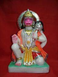 Hanuman Marble Statue Sitting Aashirwaad