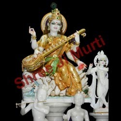 Maa Saraswati Colored Statue