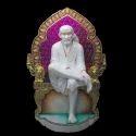 Marble Sai Baba Statue Seated On Singhasan